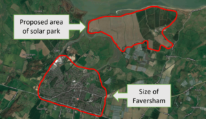 Map compares the boundaries around the proposed solar power station site and the town of Faversham - they are the same size